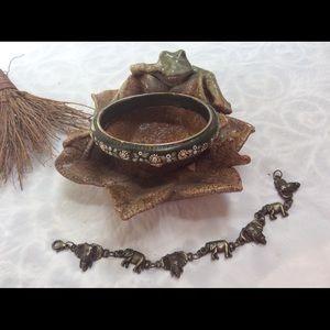 Vintage 2 Bracelet LOT Leather BOHO Elephant Link